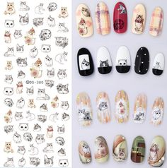 NEW DS380 Cats Kittens Kitty Pets Nail Water Transfer Nails Art Sticker Decal Nail Wraps Tips Lovely Cute-in Stickers & Decals from Beauty & Health on Aliexpress.com | Alibaba Group