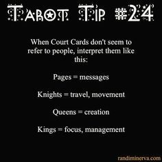 Minerva's Tarot tip # when Court cards do not seem to represent any specific person they may be referring to something else. Tarot Interpretation, Tarot Cards For Beginners, Tarot Card Spreads, Tarot Astrology, Tarot Card Meanings, Tarot Readers, Card Reading, Book Of Shadows, Tarot Decks