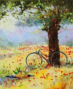 by Gleb Goloubetski Bicycle Painting, Bicycle Art, Painting On Wood, Flower Art, Watercolor Art, Landscape Art, Landscape Paintings, Cycling Art, Beautiful Paintings