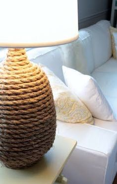 Rope lamp. I'm so doing this to the ugly lamps we have in our bedroom!