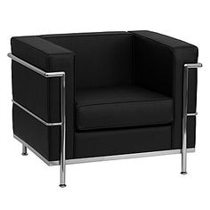 Flash Furniture HERCULES Regal Series Contemporary Leather Chair with Encasing Frame, Black