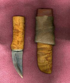 Kiridashi Utility Knife and Fur Covered  Wooden Cover.