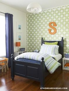 S is for SUPER! We loved seeing our Linked In Stencil in this little boy's room!
