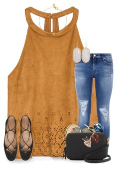 """""""schoool is ugh"""" by mallorykennerly ❤ liked on Polyvore featuring Zara, 7 For All Mankind, Aquazzura, Kendra Scott, Pixi, Ray-Ban, Hartford, Kate Spade, Mark & Graham and Estella Bartlett"""
