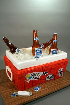 Funny Retirement Cakes for Men | Beer Cooler 30th Birthday Cake.