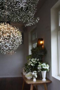 """baby's breath ball.  6"""" florist foam ball, soaked 5 min., thin silver wire, several bunches baby's breath. Thread wire through middle of ball, attached to hanging twine."""
