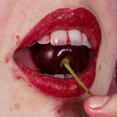 Maisie Cousins, symbolism for popping the cherry Maisie Cousins, Tush Magazine, Magazine Covers, Cherry Lips, Sour Cherry, Foto Art, Red Aesthetic, Lip Art, Lipstick Art