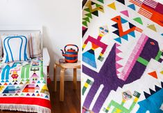 Details from the spare bedroom (love that crazy colourful Mexican blanket).  Chair-back cushion from Hut 13.