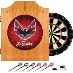 """Red 24.75"""" Pontiac Firebird Wood Dart Cabinet Set"""