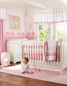 Girls Nursery - This is adorable! I love the two different tones of pink and the curtains!