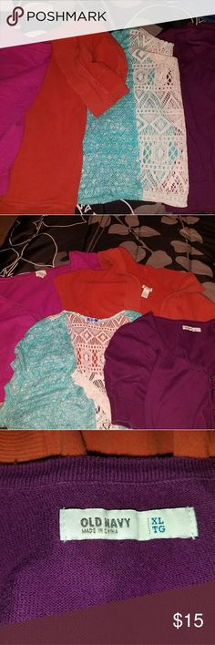 Shrugs lot of 4 1x Firm price for all 4  Orange is hooded  Colors:  aqua, orange, pink, maroon $10 is great deal.  Good condition LANE BRYANT, OLD NAVY, BLU ? Lane Bryant Sweaters Shrugs & Ponchos