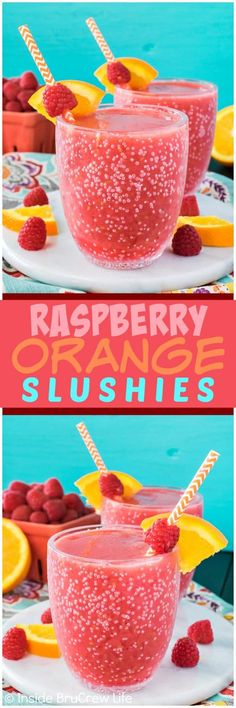 Raspberry Orange Slushies - add fresh fruit, ice, and juice to your blender for an easy summer drink!  Great recipe to cool off with on a hot day!!!