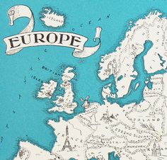 Map of Europe - Vintage Map of Europe - A Fun and Funky Little 1930s Vintage Picture Map to Frame