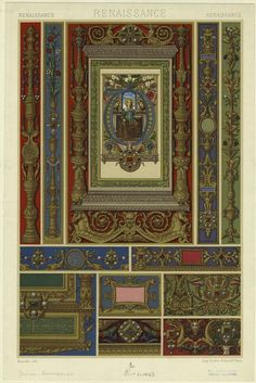 Renaissance patterns with Christian figures, unicorns, faces, rams, angels, and floral designs. Brandin, lithographer  Firmin-Didot (Firm), printer, 1912 - NYPL Photo Collection