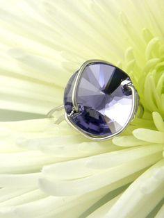 Button Ring Swarovski Crystal Rivoli Tanzanite. $30.00, via Etsy.