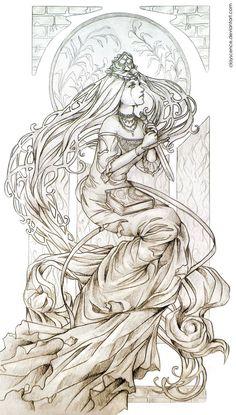 Coloring for adults -kleuren voor volwassenen d f- art nouveau,fairys,angel Adult Coloring Book Pages, Coloring Pages To Print, Colouring Pages, Coloring Books, Bow Tattoo Designs, Art Nouveau, Illustration Art, Illustrations, Fairy Coloring
