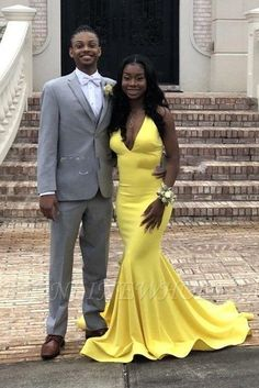 Sexy Backless V-neck daffodil Affordable Mermaid Prom Dress Online Mermaid Prom Dresses, Prom Party Dresses, Homecoming Dresses, Perfect Wedding Dress, Cheap Wedding Dress, Cheap Prom Dresses Online, Dress Online, Long Evening Gowns, Custom Dresses