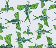 Malolo- Flying Fish fabric by treefishjane on Spoonflower - custom fabric