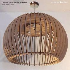 Lámpara De Techo Moderna Esfera 60x38cm Mdf 3mm Diseño - $ 6.840,00