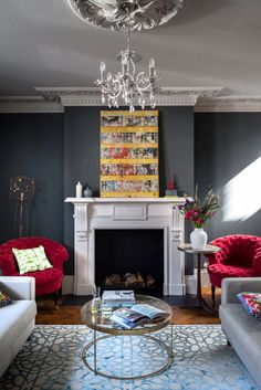 This home strikes the perfect balance with its light and airy kitchen extension, a bold dark blue study, a playful cloakroom and an utterly calming bedroom.
