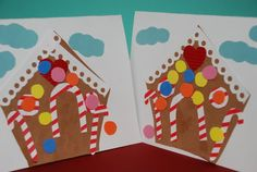 Christmas crafts for kids - gingerbread house cards Preschool Christmas, Noel Christmas, Christmas Crafts For Kids, Christmas Activities, Preschool Crafts, Christmas Themes, Holiday Crafts, Kids Crafts, Holiday Fun