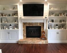 Bookshelves Around Fireplace, Built In Around Fireplace, Fireplace Built Ins, Home Fireplace, Fireplace Remodel, Living Room With Fireplace, Fireplace Design, Fireplace With Cabinets, Wall Units With Fireplace