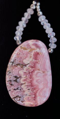 Maia Rose Quartz Round Long Rope Chain Statement Necklace Natural Pink Rose Crystal Quartz Gemstone Mineral Stone Gem DEJ-DRL10-RQ
