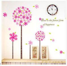 coloré bohémien arbre fleur par autocollants muraux stickers rose