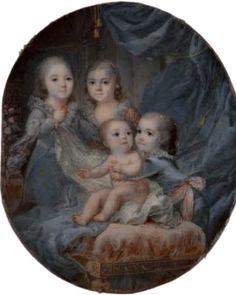 Curiosa miniatura de los 4 hijos de Luis XVI y Marta Antonieta ,hecha poco antes de que muriera Madame Sofia