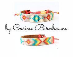Loom beaded bracelet Beaded bracelet Leather by CarineBirnbaum Loom Bracelet Patterns, Bead Loom Bracelets, Bead Loom Patterns, Beading Patterns, Diy Bracelets How To Make, Homemade Bracelets, Bead Weaving, Tapestry Weaving, Bijoux Diy