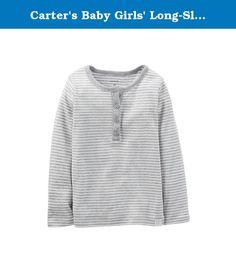 Carter's Baby Girls' Long-Sleeve Striped Henley - 6 Months. Carter's Baby Girls' Long-Sleeve Striped Henley.