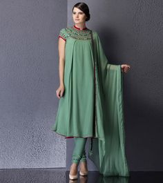 Green #Embroidered & #Sequined #Georgette #Anarkali #Suit by #Am:Pm at #Indianroots