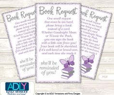 Purple Butterfly Book Request Baby Shower Printable DIY Tickets, Book instead of card, It's a Purple, Bokeh-ao126bs0