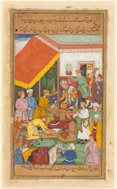 Timur distributes gifts from his grandson, the Prince of Multan, from Zafar-nama