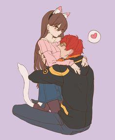 Aaa que happy Anime Girls, Anime Couples Manga, Cute Anime Couples, Anime Art Girl, Manga Anime, Anime Love Couple, Couple Art, Mystic Messenger Fanart, Anime Kunst