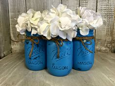 Set of 3 TURQUOISE MASON JARS Painted Mason Jars by BowtiqueBurlap