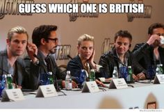 Avengers-Guess which one is British? Lol. Hint he's drinking tea and plays Loki. Tom Hiddleston! (Chris Hemsworth, Robert Downey Jr. , Scarlett Johanson, Jeremy Renner)