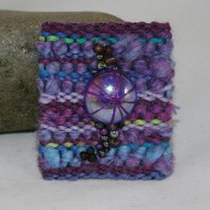 Embroidered Woven and Beaded Brooch  Purple Glass by Lynwoodcrafts,