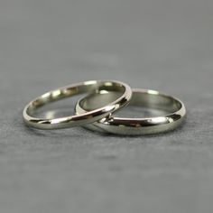 White Gold Band Set 14K Palladium White by seababejewelry. Eco metals used.