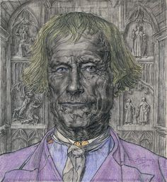 Jan Toorop (Dutch, 1858-1928)   Father of the Church, 1904  charcoal and crayon on paper, 41.2 × 37.5 cm