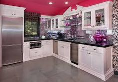 Image result for white  kitchen pink walls