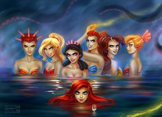 Ariel and her sisters...wow do NOT make these girls mad!! (Fun to see the not so 'pristine'/Disney version of the characters...makes you think...)