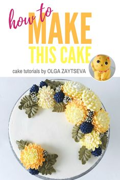 How to make Buttercream chrysanthemums and berries cake - Cake decorating tutorial by Olga Zaytseva. Learn how to make very trendy buttercream chrysanthemums, pipe berries and create this autumnal flower wreath cake. #cakedecorating #cakedecoratingtutorial #buttercreamflowercake #buttercreamflowers