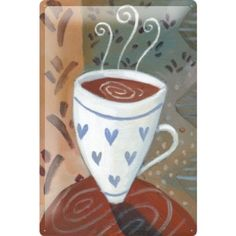 Tin sign restaurant kitchens decoration coffee Cup Wall metal plate 8x12 Tin Sign. UV Resistant. Curved. Made in Germany. Size: 8x12.  #LEOTIE #Home