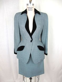1980s Thiery Mugler Check Print with Velvet trim by tovasvintage, $185.00