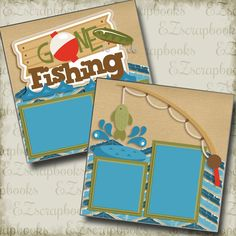 Gone Fishing 2 Premade Scrapbook Pages EZ Layout 4052 Christmas Scrapbook Layouts, 12x12 Scrapbook, Scrapbook Designs, Scrapbook Page Layouts, Travel Scrapbook, Scrapbook Paper Crafts, Scrapbooking Ideas, Scrapbook Background, Scrapbook Storage