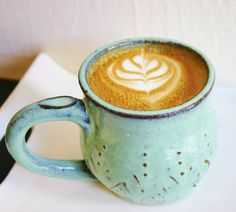 Stoneware Mug - Ceramic Coffee Cup in Aqua Mist OOAK - French Country Dinnerware - Ready to Ship. $28.00, via Etsy.