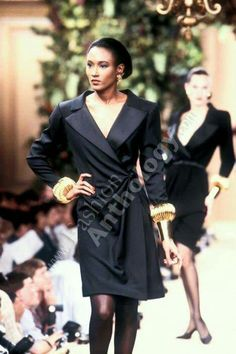 Yves Saint Laurent | Fall 1988 Le Smoking, Cindy Crawford, Ysl, Yves Saint Laurent, Blazers, Gowns, Couture, Elegant, Coat