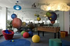 Imaginative designed staff room designed as a playroom. Industrial Office Design, Modern Office Design, Office Interior Design, Office Interiors, Office Designs, Interior Designing, Interior Ideas, Cheap Home Office, Home Office Decor