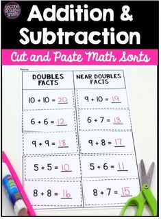 This set of 27 cut and paste math sorts includes everything you need to help your first grade or second grade students develop fluency with addition and subtraction within These hands-on activities are great for use as printable cut and paste centers Hands On Activities, Learning Activities, Teaching Ideas, Math Stations, Math Centers, Doubles Facts, Teaching Second Grade, Common Core Ela, Fun Math